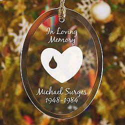 Forever In Our Hearts Memorial Oval Glass Ornament