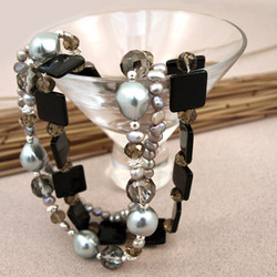 Ebony Glass Bead & Freshwater Pearl Necklace
