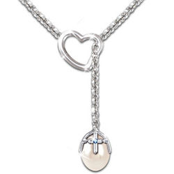 Journey of Faith Solid Sterling Silver Pearl Necklace