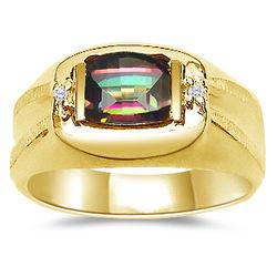 Mens Diamond & Mystic Topaz Ring