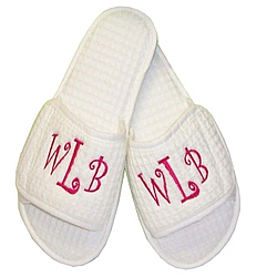 Monogrammed Waffle Weave Slippers