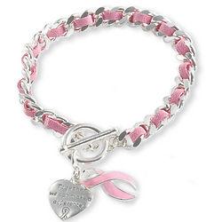 Silvertone Pink Ribbon Heart Charm Bracelet