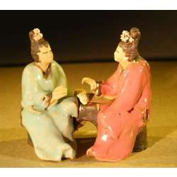 Two Women Sitting at a Table Miniature Ceramic Figurines