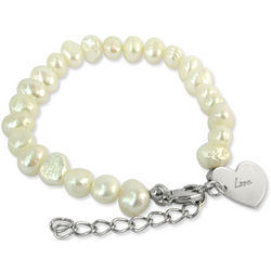 Pearl Bracelet with Engraved Sterling Silver Charm