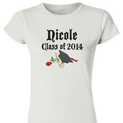 Ladies Personalized Graduation Fitted T-Shirt with Red Rose