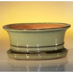 Ceramic Glazed Bonsai Pot with Attached Drip Tray