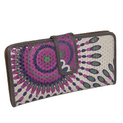 Geometric Fabric Checkbook Organizer Wallet