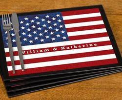 Personalized Stars and Stripes Glass Placemats