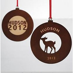 Deer Design Wood Circle Ornament