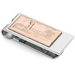 Personalized Swinging Golfer Spring Loaded Money Clip