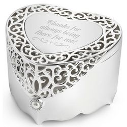 Engravable Filigree Heart Memory Box