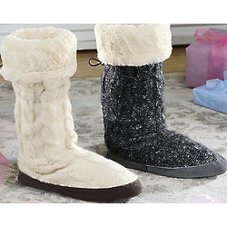 Fleece Lined Cable Slipper Boots