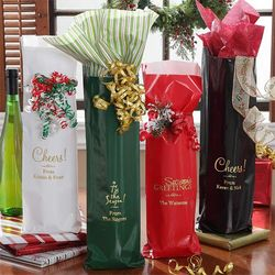 Holiday Spirit Personalized Wine Bags