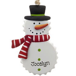 Personalized Tin Bottle Cap Snowman Red Scarf Ornament
