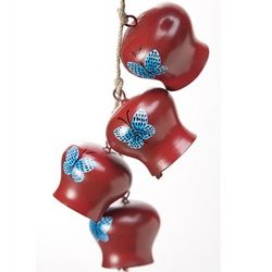 Hanging Red Butterfly Garden Bells Wind Chime