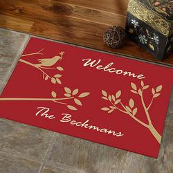 Welcome Sparrow Personalized Doormat