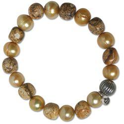 Picture Jasper and Golden Freshwater Pearl Bracelet