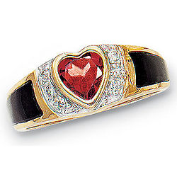 14 Karat Gold-Plated Garnet Heart Onyx Ring