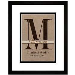 Burlap Personalized Family Initial Framed 11x14 Art Print
