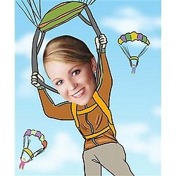 Your Photo in a Parachuting Caricature
