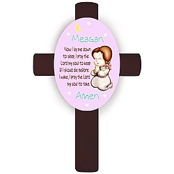 Personalized Brunette Girl's Bedtime Prayer Cross