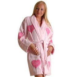 Women's Sweetheart Appliqued Cotton Terry Short Bathrobe