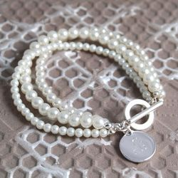 Triple Strand Pearl Bridesmaid Bracelet with Charm