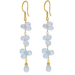 18K Gold Swiss Blue Topaz Long Briolette Earrings