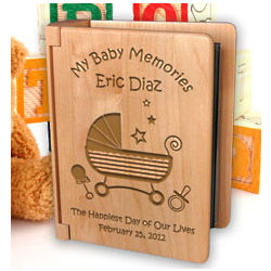 Personalized Baby Memories Wooden Photo Album