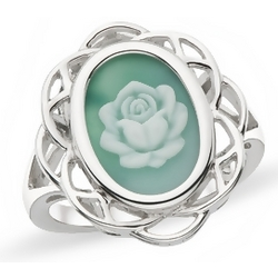 Green Agate Sterling Silver Floral Cameo Ring