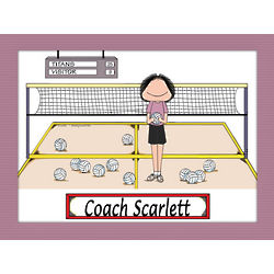 Personalized Volleyball Coach Cartoon Print