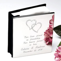 Personalized Our Hearts Silver Photo Album