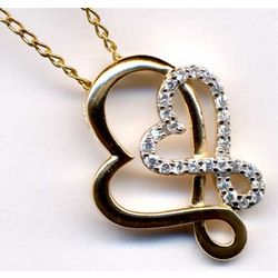 Gold Plated Double Heart Pendant with Cubic Zirconia
