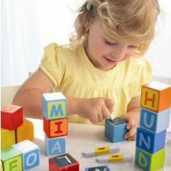 First Letter Fun Building Blocks with Chalk