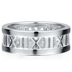 Sterling Silver Roman Numeral Band