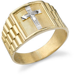 14K Two-Tone Gold Men's Crucifix Ring