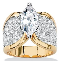 Marquise-Cut Cubic Zirconia 14k Yellow Gold-Plated Ring