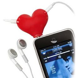 Red Heart Headphone Splitter