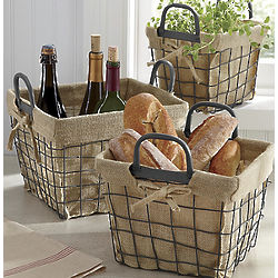 Wire Baskets with Burlap Liners