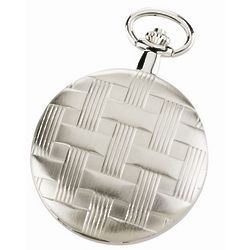 Basketweave Silver Mechanical Pocket Watch