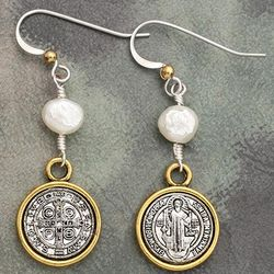 Antique Coin and Faux Pearl Earrings