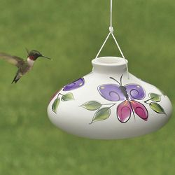 Hand-Painted Ceramic Hummingbird Feeder