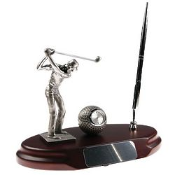 It's Tee Time! Golfer's Desktop Pen Stand and Clock
