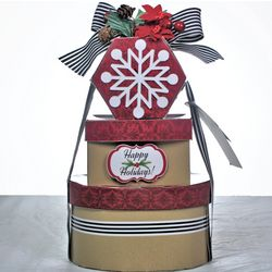 Happy Holidays Christmas Cookie Gift Tower