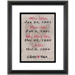 Couple's Milestone Dates Personalized 11x14 Framed Art Print