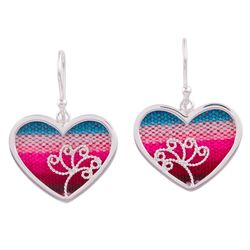 Love from Peru Sterling Silver and Wool Blend Dangle Earrings