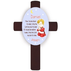 Personalized Blond Boy's Bedtime Prayer Cross