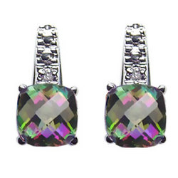 Diamond & Mystic Green Topaz Earrings