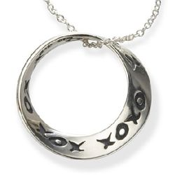 XO XO Hugs and Kisses Necklace in Sterling Silver