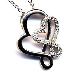 Sterling Silver Double Heart Pendant with Cubic Zirconia